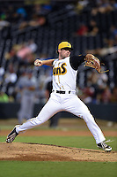 Jacksonville Suns pitcher Reid Redman (26) delivers a pitch during game three of the Southern League Championship Series against the Chattanooga Lookouts on September 12, 2014 at Bragan Field in Jacksonville, Florida.  Jacksonville defeated Chattanooga 6-1 to sweep three games to none.  (Mike Janes/Four Seam Images)