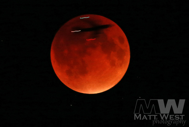 (09/27/2015 Scituate, MA) An airplane crosses the super moon during a lunar eclipse on Sunday, September 27, 2015. Staff Photo by Matt West.