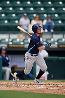Charlotte Stone Crabs Carl Chester (9) at bat during a Florida State League game against the Bradenton Marauders on April 10, 2019 at LECOM Park in Bradenton, Florida.  Bradenton defeated Charlotte 2-1.  (Mike Janes/Four Seam Images)