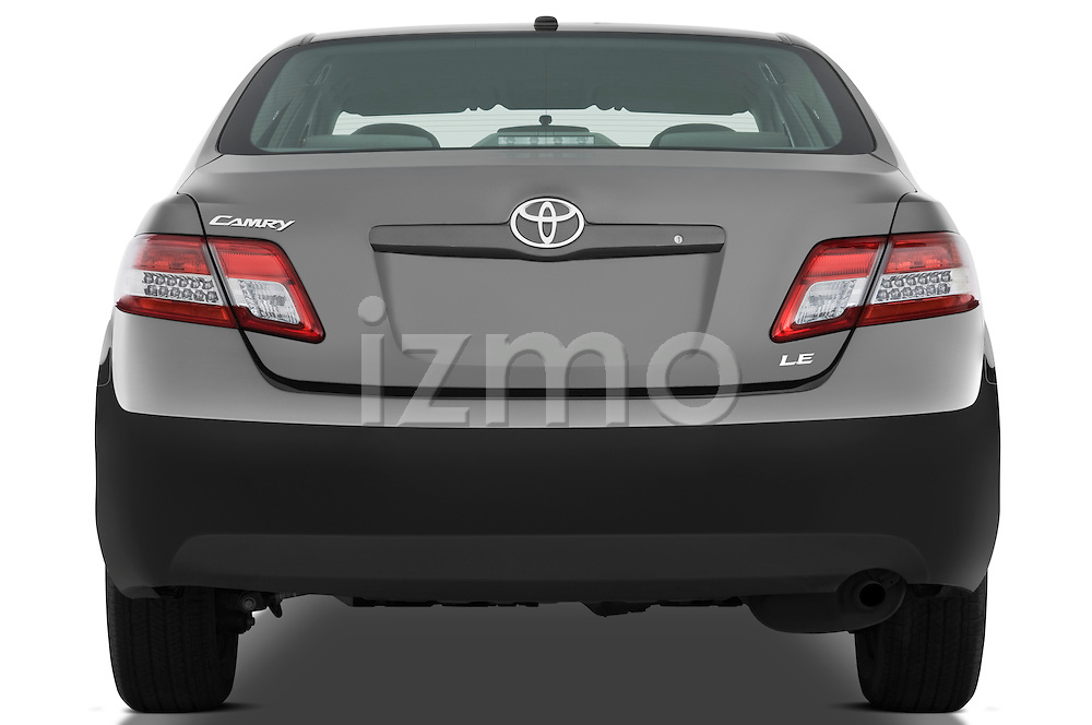 Straight rear view of a 2010 Toyota Camry LE