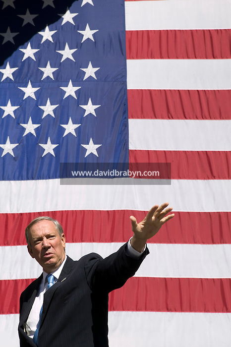 6 September 2005 - New York City, NY - New York State Governor George E. Pataki attends a ceremony held at Ground Zero in New York, USA, 6 September 2005, to launch the construction of the new World Trade Center transportation hub. Four years ago, on 11 September 2001, terrorist attacks fully destroyed the twin towers of the World Trade Center killing some 2,600 people. Photo Credit: David Brabyn