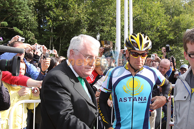 Lance Armstrong (USA) Astana with Minister Dick Roche before the start of  Stage1 of the 2009 Tour of Ireland, running 196km from the Ritz-Carlton Hotel Powerscourt, Enniskerry to Waterford, Ireland. 21st August 2009.<br /> (Photo by Eoin Clarke/NEWSFILE)
