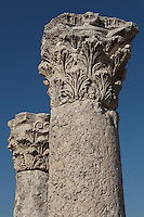 Corinthian columns with capitals carved with acanthus leaves, Byzantine Basilica, Amman Citadel, Jabal al Qal'a, Amman, Jordan. These capitals were taken from the Roman Temple of Hercules for use in the Byzantine Church, built c. 550 AD. Picture by Manuel Cohen