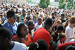 Crowds push their way in to enter U.S. Steel Yard Stadium before a hometown tribute to Michael Jackson begins in Gary, Indiana on July 10, 2009.  Jackson died on June 25 at a Los Angeles hospital.