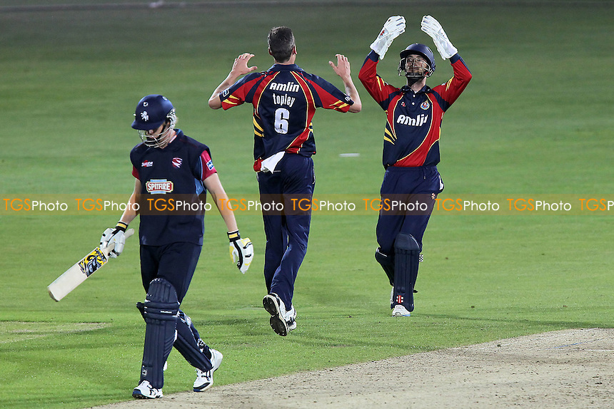 Reece Topley of Essex celebrates the wicket of Mark Davies with James Foster - Kent Spitfires vs Essex Eagles - Friends Life T20 Cricket at the St Lawrence Ground, Canterbury - 06/07/12 - MANDATORY CREDIT: Gavin Ellis/TGSPHOTO - Self billing applies where appropriate - 0845 094 6026 - contact@tgsphoto.co.uk - NO UNPAID USE.