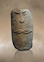 Late European Neolithic prehistoric Menhir standing stone with carvings on its face side. The representation of a stylalised male figure starts at the top with the bottom of a carving of a falling figure with head at the bottom and 2 curved arms encircling a body above. at the bottom is a carving of a dagger running horizontally across the menhir. Excavated from Piscina 'E Sali V site,  Laconi. Menhir Museum, Museo della Statuaria Prehistorica in Sardegna, Museum of Prehoistoric Sardinian Statues, Palazzo Aymerich, Laconi, Sardinia, Italy