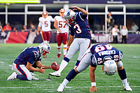 August 9, 2018: New England Patriots kicker Stephen Gostkowski (3) warms up before the NFL pre-season football game between the Washington Redskins and the New England Patriots at Gillette Stadium, in Foxborough, Massachusetts.The Patriots defeat the Redskins 26-17. Eric Canha/CSM