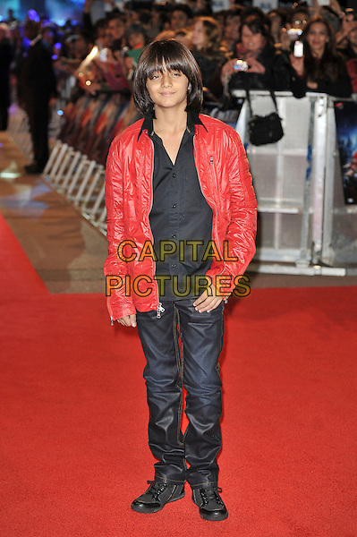 Arman Varma.'RA. One' UK premiere at Cineworld, O2 Arena, Greenwich, London, England..25th October 2011.full length black shirt red leather jacket .CAP/MAR.© Martin Harris/Capital Pictures.