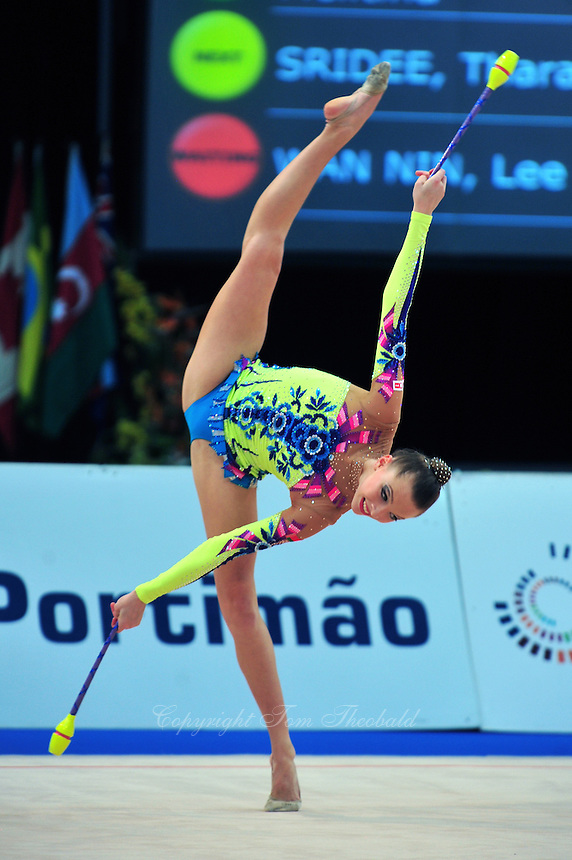 Melitina Staniouta of Belarus performs at 2011 World Cup at Portimao, Portugal on April 30, 2011.