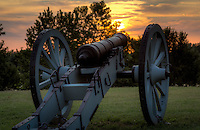 A Canon overlooking the Arkansas River on Belle Point at the Fort Smith National Historic Site.