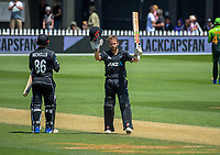 Kane Williamson celebrates his century during the One Day International cricket match between the NZ Black Caps and Pakistan at the Basin Reserve in Wellington, New Zealand on Saturday, 6 January 2018. Photo: Dave Lintott / lintottphoto.co.nz
