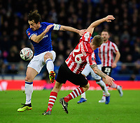 Everton's Leighton Baines vies for possession with Lincoln City's Harry Anderson<br /> <br /> Photographer Chris Vaughan/CameraSport<br /> <br /> Emirates FA Cup Third Round - Everton v Lincoln City - Saturday 5th January 2019 - Goodison Park - Liverpool<br />  <br /> World Copyright &copy; 2019 CameraSport. All rights reserved. 43 Linden Ave. Countesthorpe. Leicester. England. LE8 5PG - Tel: +44 (0) 116 277 4147 - admin@camerasport.com - www.camerasport.com