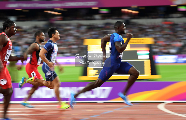 Justin Gatlin (USA) qualifies in the mens 100m heats. IAAF World athletics championships. London Olympic stadium. Queen Elizabeth Olympic park. Stratford. London. UK. 04/08/2017. ~ MANDATORY CREDIT Garry Bowden/SIPPA - NO UNAUTHORISED USE - +44 7837 394578
