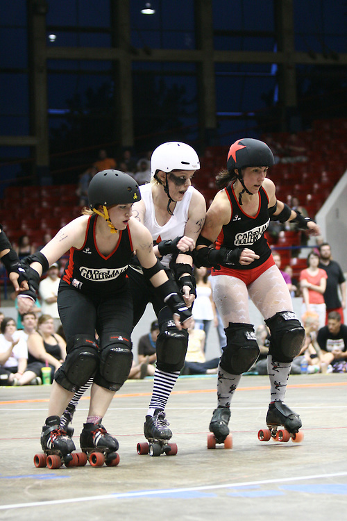 Rollergirls set up a road block