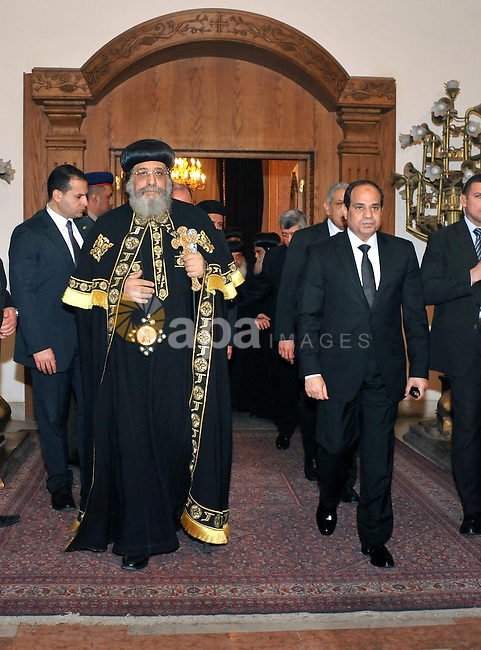 A handout photo made available by the Egyptian Presidency shows Egyptian President Abdel Fattah al-Sisi meeting with Pope Tawadros II of Alexandria, head of the Egyptian Coptic Orthodox Church, to offer condolences after the killing of Egyptian Christians in Libya, at the Coptic Cathedral of Saint Marcos in Cairo, Egypt, 16 February 2015. An Islamic State video released on 15 February claimed to show the extremist group beheading 21 Egyptian Christians abducted in Libya more than a month ago. The Egyptian army responded on 16 February by an airstrike against the militants targeting bases and weapons storage facilities in Libya. Egyptian Presidency