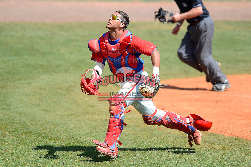 Philadelphia Phillies catcher Gabriel Lino (11) during a minor league Spring Training game against the Atlanta Braves at Al Lang Field on March 14, 2013 in St. Petersburg, Florida.  (Mike Janes/Four Seam Images)