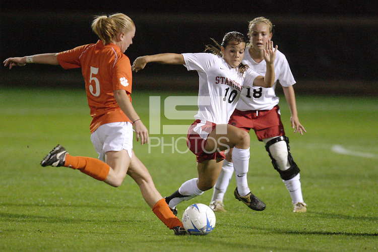 17 November 2006: Kristin Stannard and Shari Summers during Stanford's 0-0 shootout loss to Clemson in the NCAA tournament at Maloney Field in Stanford, CA.
