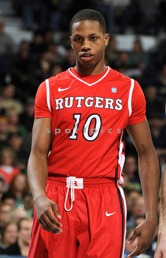 Rutgers Scarlet Knights Mike Poole (10) during a game against Notre Dame on January 19, 2013 at the Purcell Pavilion in South Bend, IN. Notre Dame beat Rutgers 69-66.