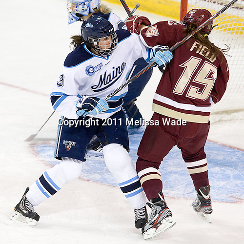 Chloe Tinkler (Maine - 3), Emily Field (BC - 15) - The visiting University of Maine Black Bears defeated the Boston College Eagles 5-2 on Sunday, October 30, 2011, at Kelley Rink in Conte Forum in Chestnut Hill, Massachusetts.