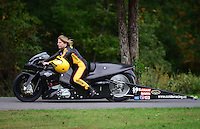 Oct. 6, 2012; Mohnton, PA, USA: NHRA pro stock motorcycle rider Connie XXXX during qualifying for the Auto Plus Nationals at Maple Grove Raceway. Mandatory Credit: Mark J. Rebilas-