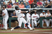 Auburn Tigers second baseman Ryan Bliss (9) swings the bat during Game 7 of the NCAA College World Series against the Louisville Cardinals on June 18, 2019 at TD Ameritrade Park in Omaha, Nebraska. Louisville defeated Auburn 5-3. (Andrew Woolley/Four Seam Images)