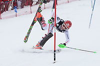COURCHEVEL FRANCE. 21-12-2010. Alexandra Daum (AUT) crashes out competing in the FIS Alpine skiing World Cup ladies slalom race in Courchevel 1850, France. Mandatory credit: Mitchell Gunn