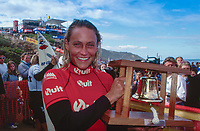 Four times Women's World Surfing Champion Lisa Andersen (USA) after winning the Quit Women's Classic, part of the 1997 Rip Curl Pro at Bells Beach, Torquay, Victoria, Australia. Photo: joliphotos.com