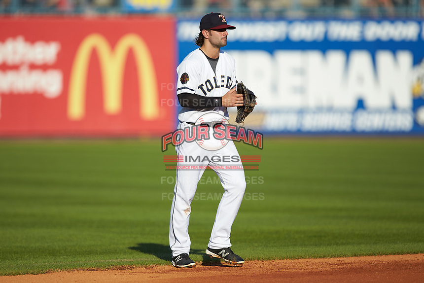 Toledo Mud Hens shortstop Pete Kozma (24) on defense against the Louisville Bats at Fifth Third Field on June 16, 2018 in Toledo, Ohio. The Mud Hens defeated the Bats 7-4.  (Brian Westerholt/Four Seam Images)