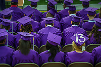 The 50th anniversary graduating class at St. Francis DeSales High School in Columbus, Ohio, in the stadium for their commencement ceremonies at the school.