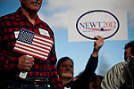 Supporters of GOP presidential candidate Newt Gingrich wait for his arrival at a campaign event in Reno, Nevada, February 1, 2012.
