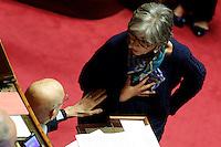 Giorgio Napolitano e Anna Finocchiaro<br /> Roma 27-04-2016 Senato. Documento di Economia e Finanza.<br /> Photo Samantha Zucchi Insidefoto