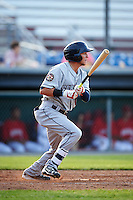 Mahoning Valley Scrappers second baseman Alexis Pantoja (12) at bat during a game against the Auburn Doubledays on June 19, 2016 at Falcon Park in Auburn, New York.  Mahoning Valley defeated Auburn 14-3.  (Mike Janes/Four Seam Images)