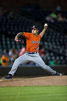 Buies Creek Astros relief pitcher Sebastian Kessay (35) in action against the Winston-Salem Dash at BB&T Ballpark on April 15, 2017 in Winston-Salem, North Carolina.  The Astros defeated the Dash 13-6.  (Brian Westerholt/Four Seam Images)