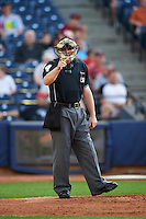 Umpire Randy Rosenberg during a game between the Richmond Flying Squirrels and Akron RubberDucks on July 26, 2016 at Canal Park in Akron, Ohio .  Richmond defeated Akron 10-4.  (Mike Janes/Four Seam Images)