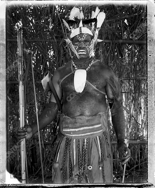 Member of the Sugu village, from the Kagua District, Southern Highlands Province at the annual 'Sing-Sing' festival, Mount Hagen, Papua New Guinea, August 2004.