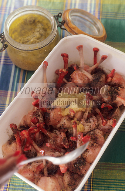 Europe/France/DOM/Antilles/Petites Antilles/Guadeloupe/Pointe-à-Pitre : Fête des cuisinières - Netty Foggea prépare ses croutilles de poulet pour la fête