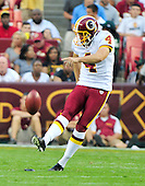 Washington Redskins kicker Graham Gano (4) kicks off after the Redskins first quarter field goal against the Baltimore Ravens at FedEx Field in Landover, Maryland on Saturday, August 21, 2010.  The Ravens won the game 23 - 3..Credit: Ron Sachs / CNP
