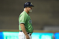 Gwinnett Stripers manager Damon Berryhill (55) coaches third base during the game against the Scranton/Wilkes-Barre RailRiders at BB&T BallPark on August 16, 2019 in Lawrenceville, Georgia. The Stripers defeated the RailRiders 5-2. (Brian Westerholt/Four Seam Images)