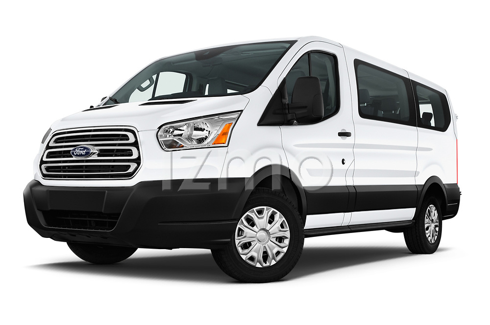 Stock pictures of low aggressive front three quarter view of a 2019 Ford Transit Wagon 150 XLT Wagon Low Roof Sliding Pass. 130 5 Door Passenger Van