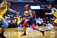 Washington, DC - June 15, 2018: Washington Mystics guard Shatori Walker-Kimbrough (32) drives to the basket during game between the Washington Mystics and Chicago Sky at the Capital One Arena in Washington, DC. (Photo by Phil Peters/Media Images International)