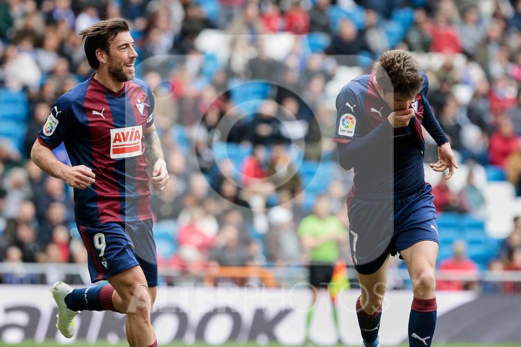 SD Eibar's Sergi Enrich (L) and Mariano Diaz (R) celebrate goal during La Liga match between Real Madrid and SD Eibar at Santiago Bernabeu Stadium in Madrid, Spain.April 06, 2019. (ALTERPHOTOS/A. Perez Meca)