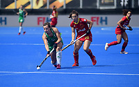 Ireland's Megan Frazer battles with Spain's Alicia Magaz<br /> <br /> Photographer Hannah Fountain/CameraSport<br /> <br /> Vitality Hockey Women's World Cup - Ireland v Spain - Saturday 4th August 2018 - Lee Valley Hockey and Tennis Centre - Stratford<br /> <br /> World Copyright &copy; 2018 CameraSport. All rights reserved. 43 Linden Ave. Countesthorpe. Leicester. England. LE8 5PG - Tel: +44 (0) 116 277 4147 - admin@camerasport.com - www.camerasport.com