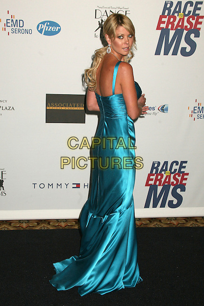 "TARA REID.14th Annual Race to Erase MS Themed ""Dance to Erase MS"" at the Century Plaza Hotel, Century City, California, USA, 13 April 2007..full length silk satin turquoise blue dress looking back over shoulder behind rear.CAP/ADM/BP.©Byron Purvis/AdMedia/Capital Pictures."