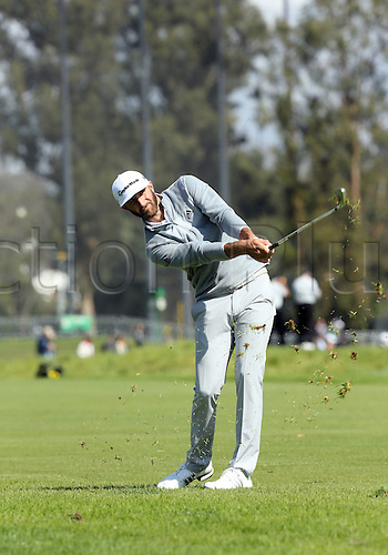 19th Februaru 2017, Pacific Palisades, CA, USA;  Dustin Johnson hits a shot on his way to a win during the final round of the Genesis Open at Riviera Country Club on February 19, 2017, in Pacific Palisades, CA