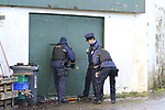The Scene in Mell, In Drogheda where a large amount of drugs were discovered after a fire in an adjoining building in the Early hours of monday morning, Armed Garda remained at the scene.<br /> Picture www.newsfile.ie