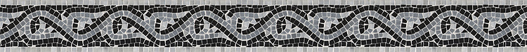 "4"" Amore border, a hand-cut stone mosaic, shown in polished Carrara, Bardiglio, and Nero Marquina."