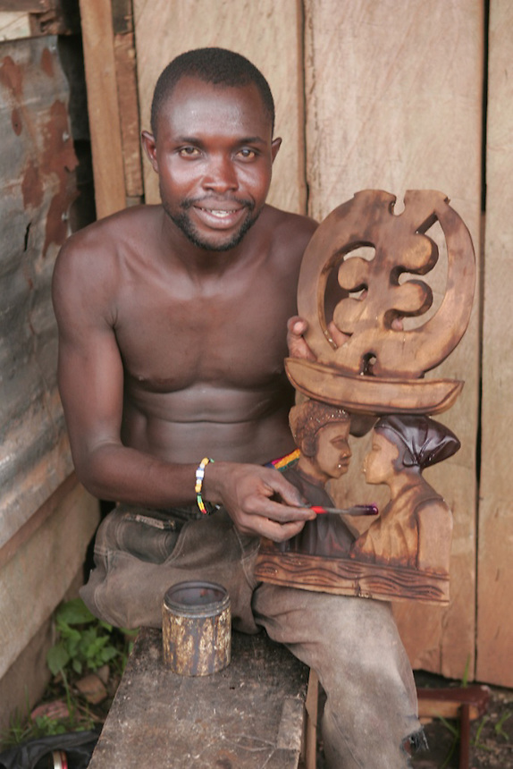Wood carvers, Aburi, Ghana..Photograph by Peter E. Randall