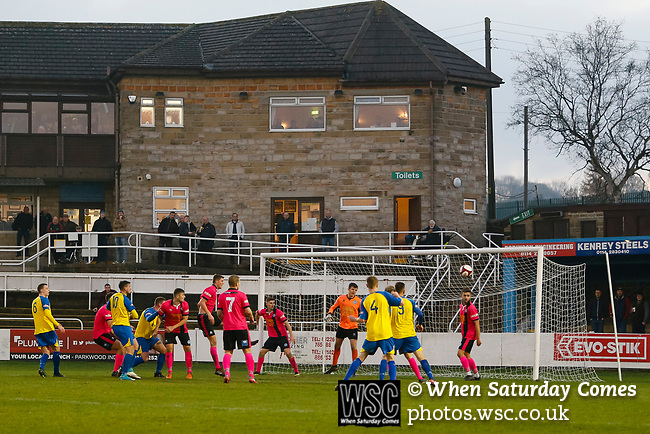 Stocksbridge search for an equaliser. Stocksbridge Park Steels v Pickering Town, Evo-Stik East Division, 17th November 2018. Stocksbridge Park Steels were born from the works team of the local British Steel plant that dominates the town north of Sheffield.<br />