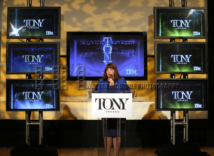 Charlotte St. Martin (Executive Director, The Broadway League)  announces the 2013 Tony Award Nominations at The New York Public Library for Performing Arts in New York on 4/30/2013...