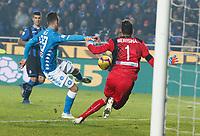 Arkadiusz Milik of Napoli  shoots and scores during the  italian serie a soccer match,Atalanta - SSC Napoli at  the Atleti azure d'italia   stadium in Bergamo Italy , December 03, 2018
